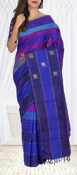 Multicoloured Pure Kanchipuram Handloom Silk Saree With Pure Zari