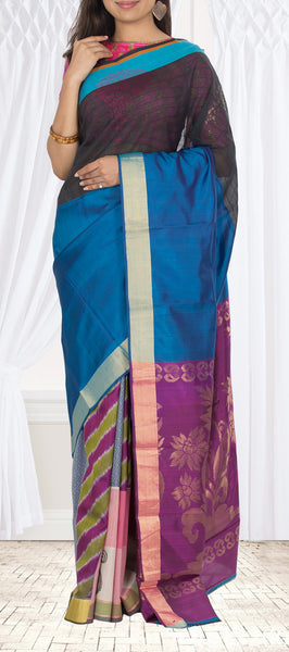 Snuff Brown & Blue Fusion Silk Cotton Saree
