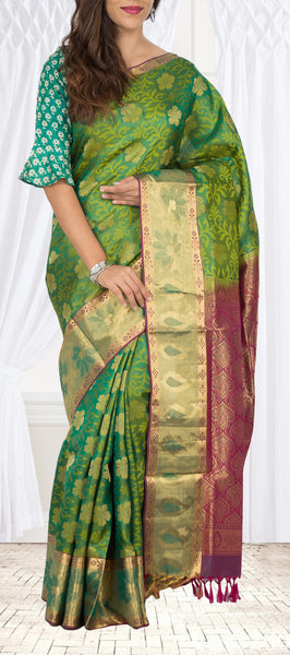 Deep Green Lightweight Kanchipuram Silk Saree