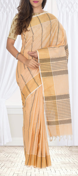 Light Peach Cotton Saree