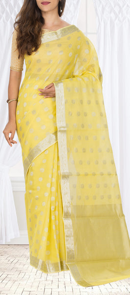 Lemon Yellow Silk Cotton Saree