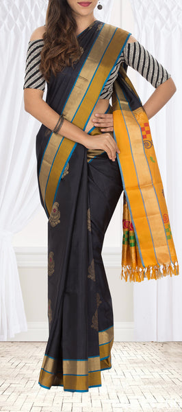 Black & Yellow Soft Silk Saree