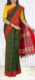 Green & Red Semi Maheshwari Cotton Saree