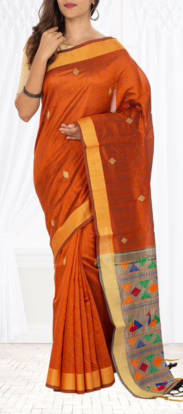 Cocoa Brown Semi Jute Saree
