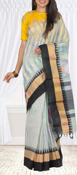White & Black Semi Silk Cotton Saree