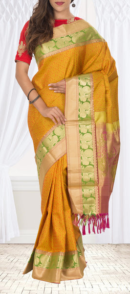 Mustard Yellow Lightweight Kanchipuram Silk Saree