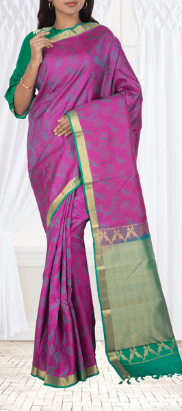 Magenta & Green Lightweight Kanchipuram Handloom Silk Saree