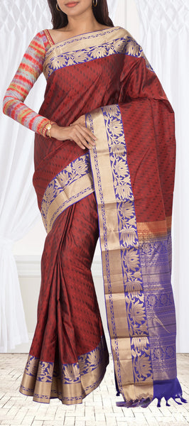 Red & Blue Lightweight Kanchipuram Handloom Silk Saree