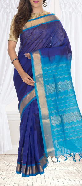 Purple & Blue Silk Cotton Saree