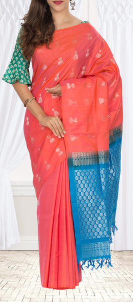 Peach & Blue Soft Silk Saree