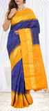 Deep Blue and Mustard Pure Kanchipuram Handloom Silk Saree with 1G Zari