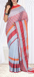 Pale Blue & Red Linen Saree