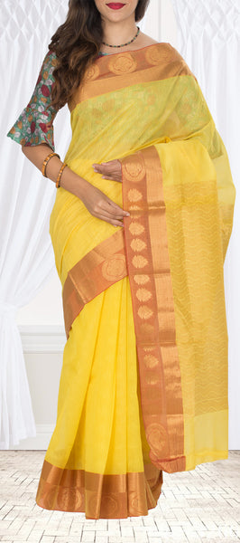 Lemon Yellow & Orange Embossed Semi Silk Cotton Saree
