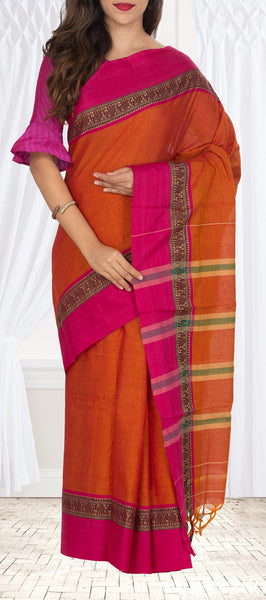 Orange & Dark Pink Cotton Saree