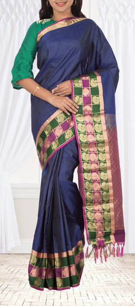 Twilight Blue Lightweight Kanchipuram Handloom Silk Saree