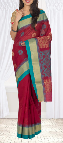 Maroon & Teal Blue Semi Silk Cotton Saree