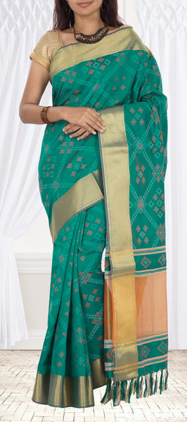 Teal Green Semi Jute Silk Saree