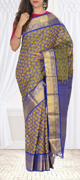 Ink Blue & Pista Green Pure Kanchipuram Handloom Silk Saree With Half-fine Zari