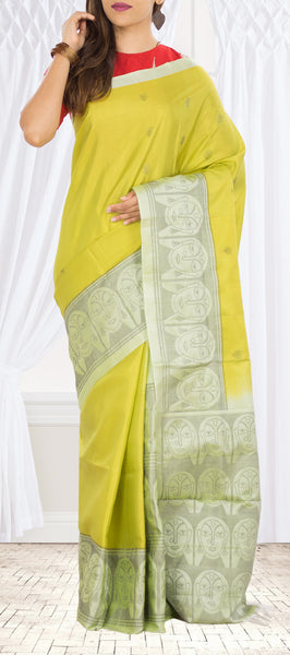 Yellow Green Soft Silk Saree