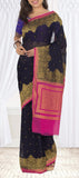 Ink Blue & Pink Pure Chiffon Saree