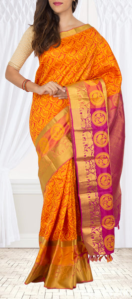 Orange & Magenta Lightweight Kanchipuram Silk Saree