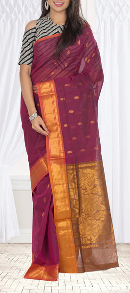 Magenta & Orange Traditional Cotton Saree