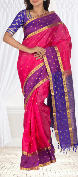 Pink & Purple Lightweight Kanchipuram Silk Saree
