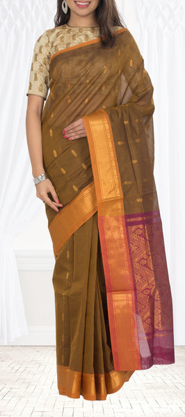 Olive Green Traditional Cotton Saree