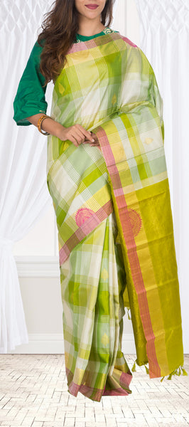 Green & Off-White Pure Kanchipuram Handloom Silk Saree