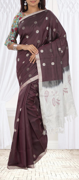 Dark Brown Soft Silk Saree