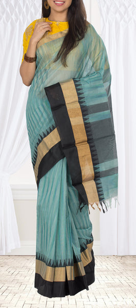 Green-Blue & Black Semi Silk Cotton Saree
