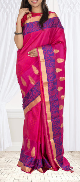 Dark Pink Lighweight Kanchipuram Silk Saree
