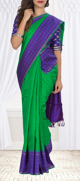 Green & Purple Kanchipuram Handloom Silk Saree With Pure Zari