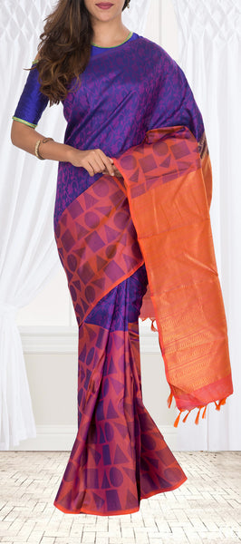 Purple & Orange Lighweight Kanchipuram Silk Saree