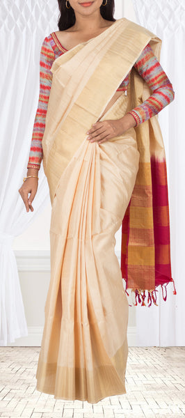 Cream Soft Silk Saree with Jute Mix