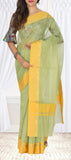Light Pista Green & Yellow Organza Saree