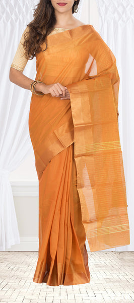 Mustard Semi Silk Cotton Saree