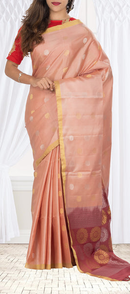 Light Brown & Dark Brown Soft Silk Saree