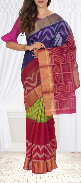 Dark Blue, Green and Magenta Silk Cotton Saree