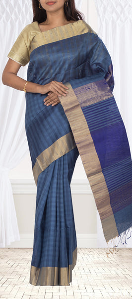 Blue Grey Jute Silk Saree