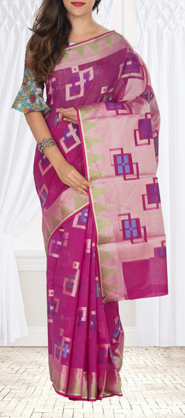 Magenta Semi Silk Cotton Saree