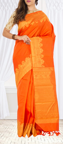 Orange Pure Kanchipuram Handloom Silk Saree With Half-fine Zari