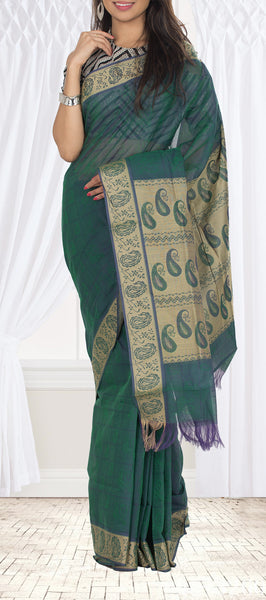 Dark Green Maheshwari Cotton Saree