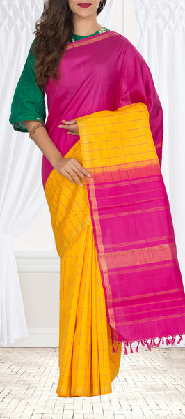 Yellow & Pink Pure Kanchipuram Handloom Silk Saree With Pure Zari