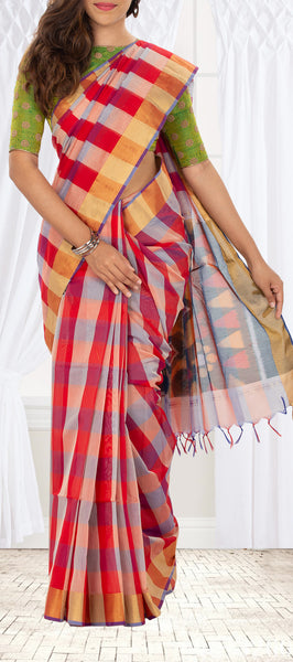 Multicolour Semi Silk Cotton Saree