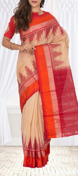 Off-White Silk Cotton Saree