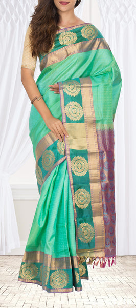 Coral Green Lightweight Kanchipurams Handloom Silk Saree