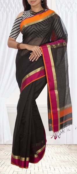 Black Maheshwari Cotton Saree