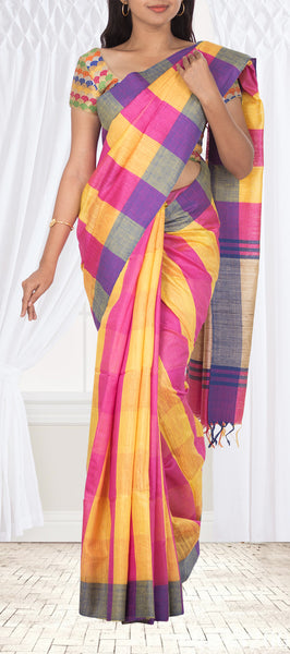 Multicoloured Jute SIlk Saree