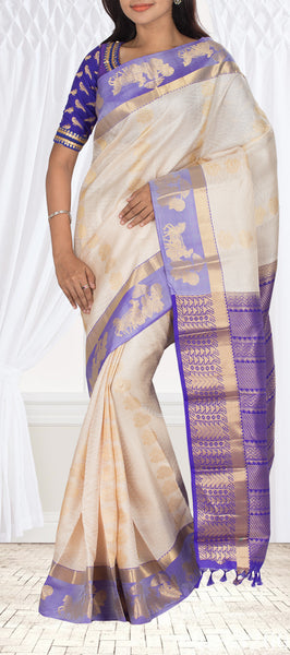 Off White & Purple Lightweight Kanchipuram Silk Saree